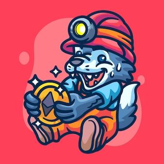 Wolf crypto miner character illustratie