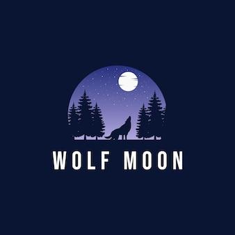 Wolf die op de maan in het bos huilt. logo sjabloon. vector illustratie. - vector