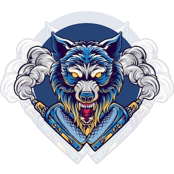 Wolf dier vaping vape winkel illustratie