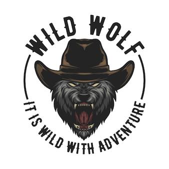 Wolf draagt een cowboyhitte, gemakkelijk te veranderen tekst en klaar voor gebruik voor elke behoefte