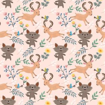 Wolf en herten in tuin naadloos patroon.