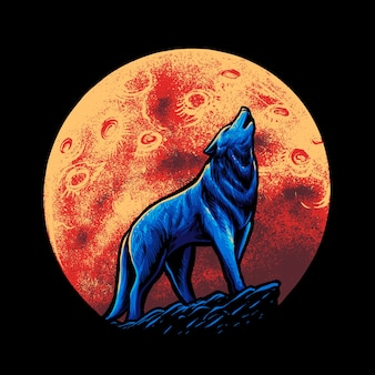 Wolf en maan illustratie