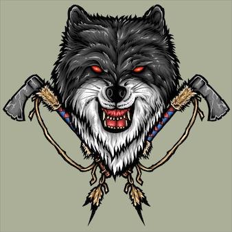 Wolf en tomahawk