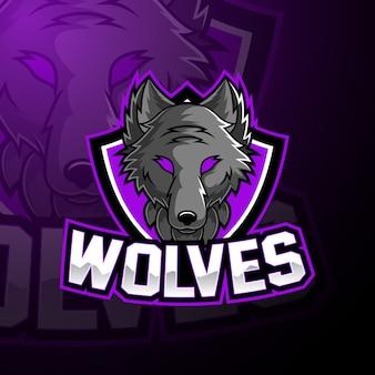 Wolf esport mascotte logo ontwerp