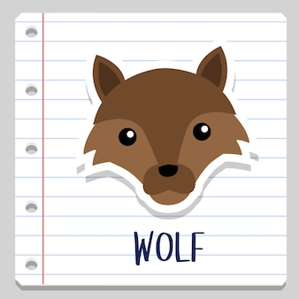 Wolf forest animal notebook clip art