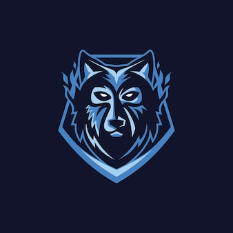 Wolf gezicht mascot logo