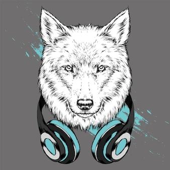 Wolf hipster in de koptelefoon