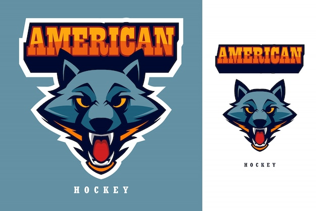 Wolf hoofd amerikaans hockey esports logo