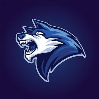 Wolf hoofd blauw