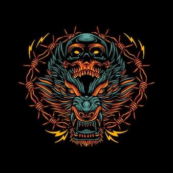 Wolf hoofd boos gezicht schedel prikkeldraad donkere kunst illustratie