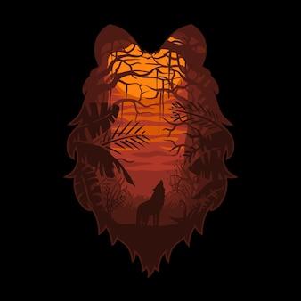 Wolf hoofd bos en tropische.premium vector