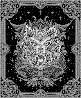 Wolf hoofd gravure