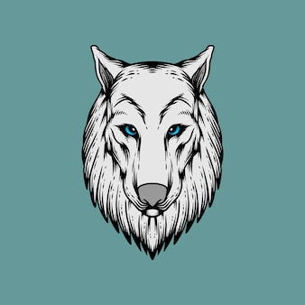 Wolf hoofd in hand tekenstijl