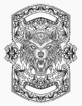 Wolf hoofd mandala zentanglestijl met vintage ornamentvlam