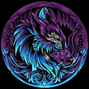 Wolf hoofd met ornament
