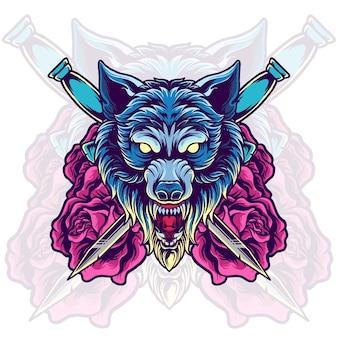 Wolf hoofd met zwaard en roos