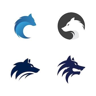 Wolf hoofd sjabloon vector illustratie ontwerp