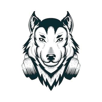 Wolf hoofdtelefoon vectorillustratie