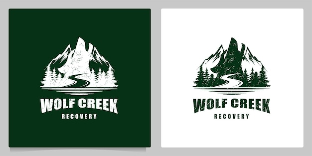 Wolf howling in the mountain hill forest logo design vintage