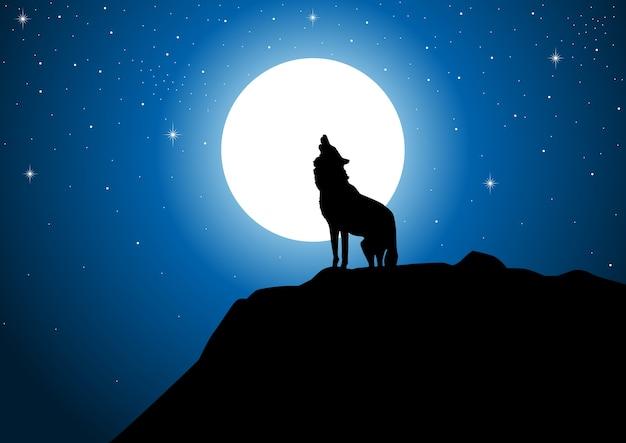 Wolf huilend bij de volle maan