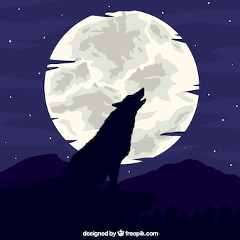 Wolf huilend op de maanachtergrond