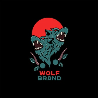 Wolf illustratie hand getekende japanse stijl