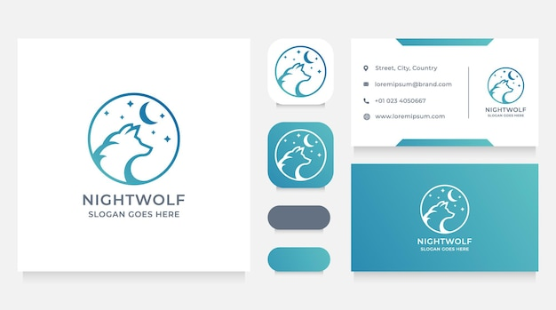 Wolf in the night-logo en visitekaartje ontwerpsjabloon
