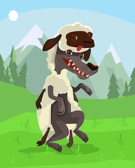 Wolf karakter in schapen kleding platte cartoon afbeelding