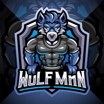 Wolf man esport mascotte logo ontwerp