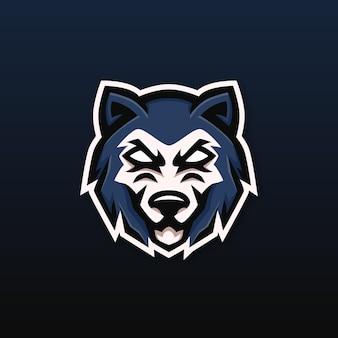 Wolf mascotte esport logo ontwerp