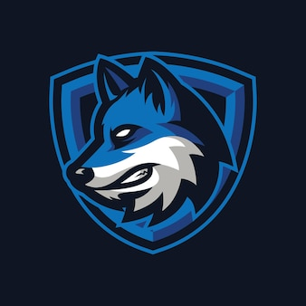 Wolf mascotte logo ontwerp voor sport of e-sport