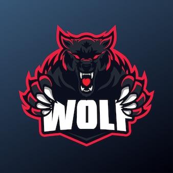Wolf mascotte voor sport- en esports-logo geïsoleerd op donkere achtergrond