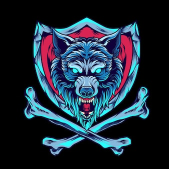 Wolf met kruisbeen en schild