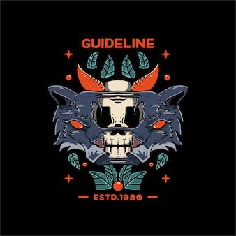 Wolf met schedel oranje illustratie voor t-shirt en tatoeage