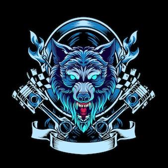 Wolf motorider-mascotte