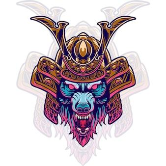 Wolf samurai hoofd illustratie