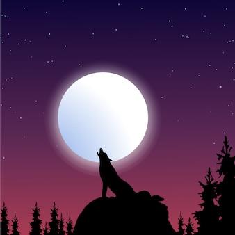 Wolf silhouet achtergrond
