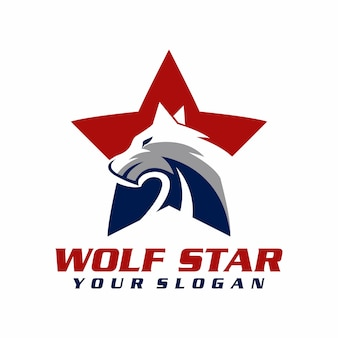Wolf ster logo vector, sjabloon, illustratie