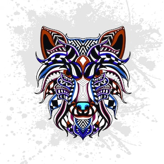 Wolf versierd met abstracte vormen