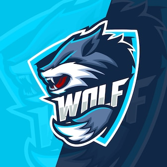 Wolf wolven mascotte esport logo ontwerp