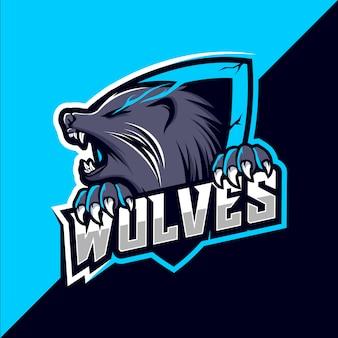 Wolf wolven mascotte esport logo-ontwerp