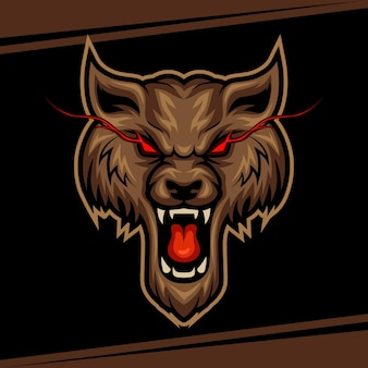 Wolfmascotte voor sport- en esports-logo