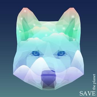 Wolfskop met besneeuwde bergen en heldere sterren die schijnen in de noordelijke lichthemel. concept illustratie op thema van bescherming van natuur en dieren voor ontwerpkaart, uitnodiging, poster, plakkaat