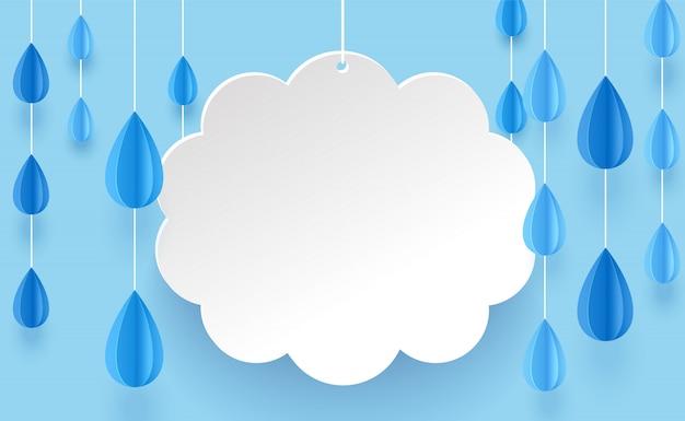 Wolk en regen kroonluchter in papier kunststijl op een blauwe achtergrond.