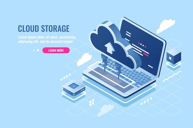 Wolk gegevens opslag isometrisch pictogram, uploaden bestand op cloud-server voor externe toegang concept, laptop