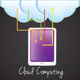 Wolk gegevensverwerkingsconcept met tablet (aandeelinformatie) vectorillustratie