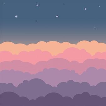 Wolk hemel mooie cartoon achtergrond. nachthemel met kleurrijke vlakke wolken