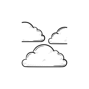 Wolk in de lucht hand getrokken schets doodle pictogram. meteorologie en weersvoorspelling, bewolkt concept. schets vectorillustratie voor print, web, mobiel en infographics op witte achtergrond.