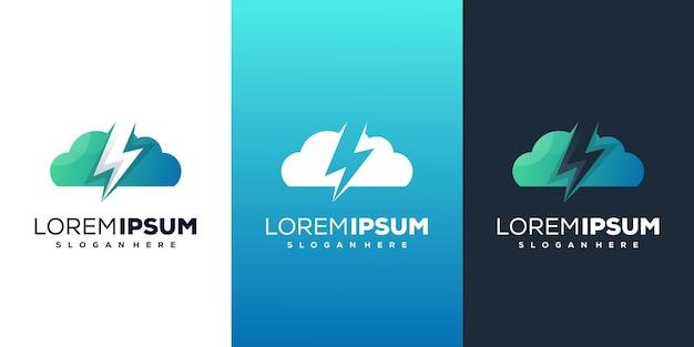 Wolk met energie modern logo sjabloon