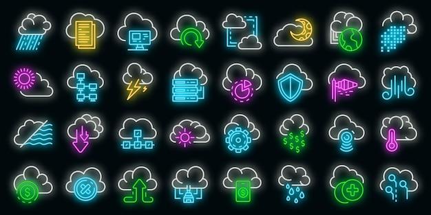 Wolk pictogrammen instellen. overzicht set van cloud vector iconen neon kleur op zwart